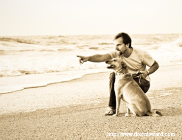 Dr. Ernie Ward at the beach with his dog