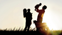 Family and dog silhouette
